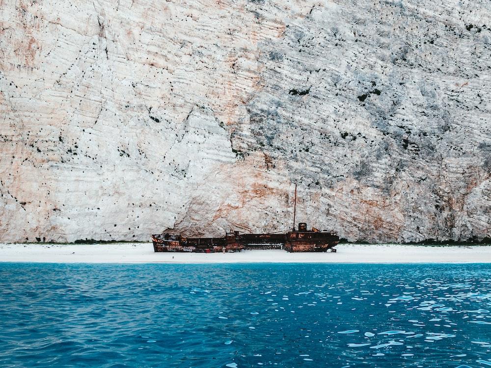 container ship on seashore