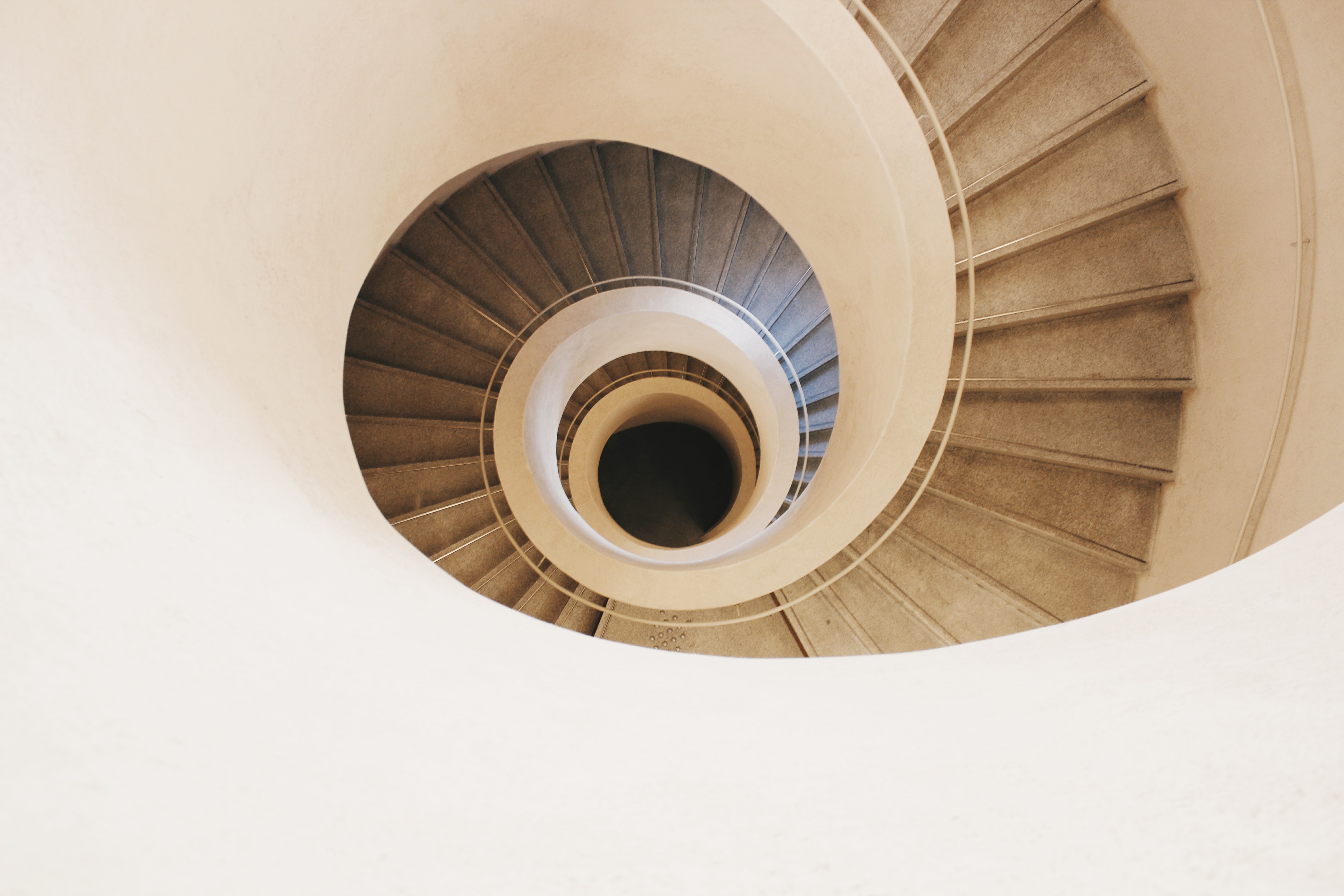 brown spiral stair