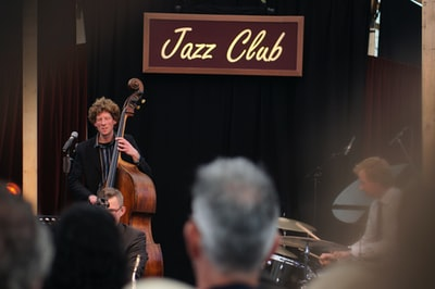 Jazz Club stage with man performing