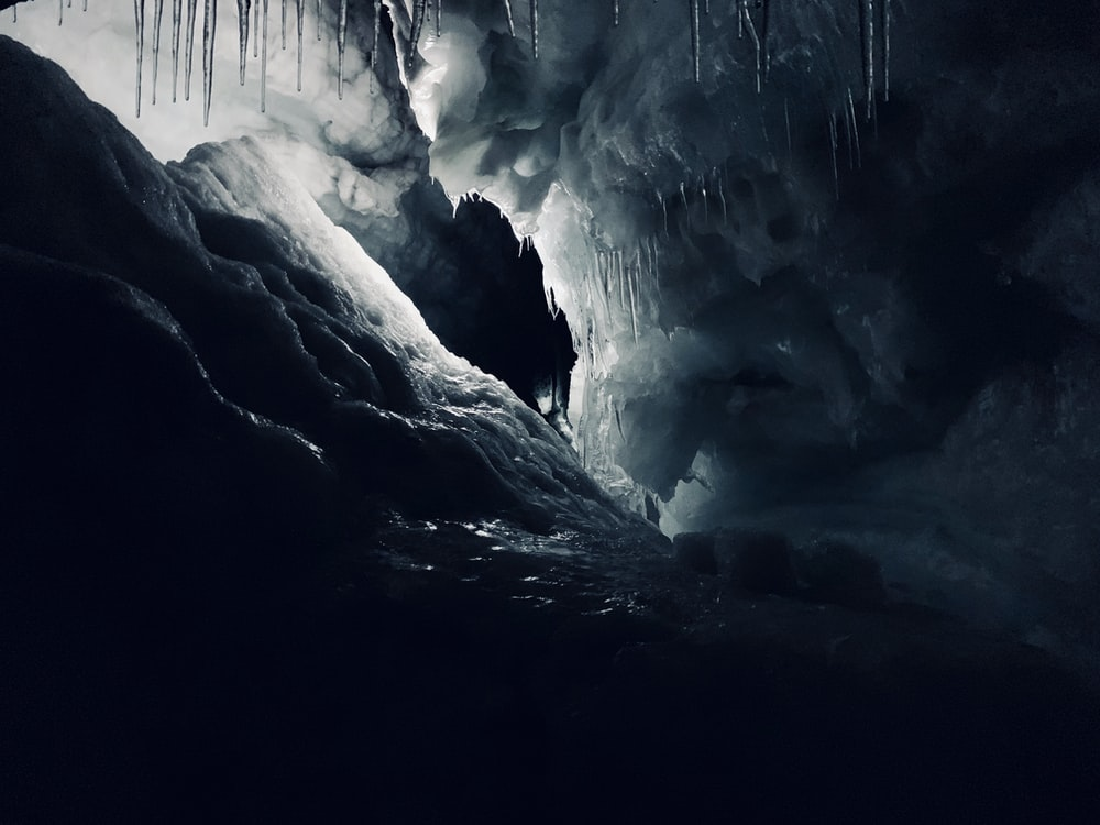 view of cave covered with ice