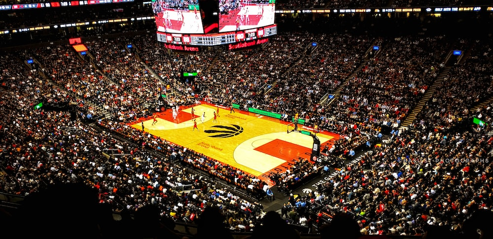 basketball stadium with crowded people