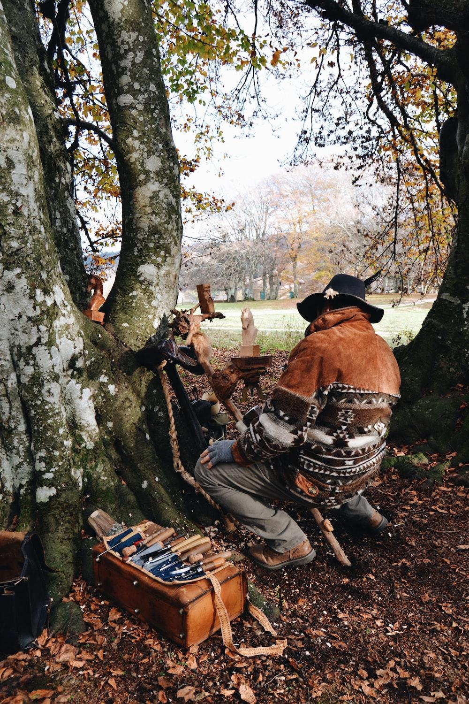 man sitting under tree during daytime