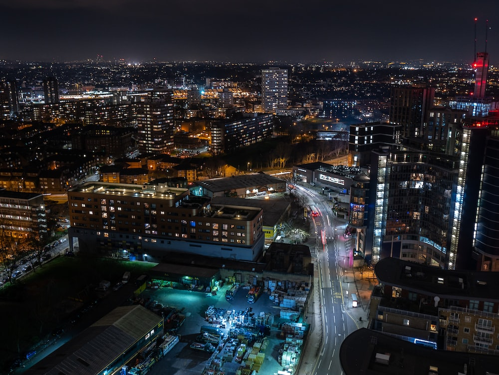 cityscape during night