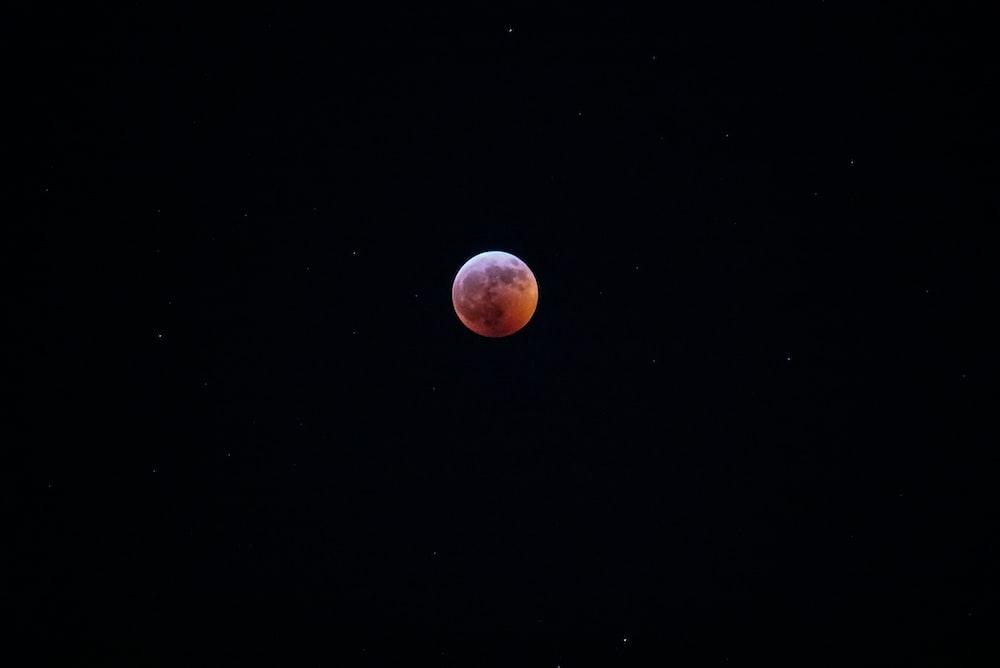 moon on focus photography