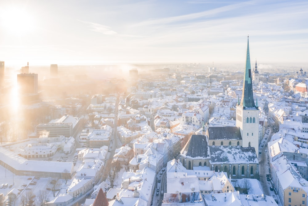city covered with snow during daytime