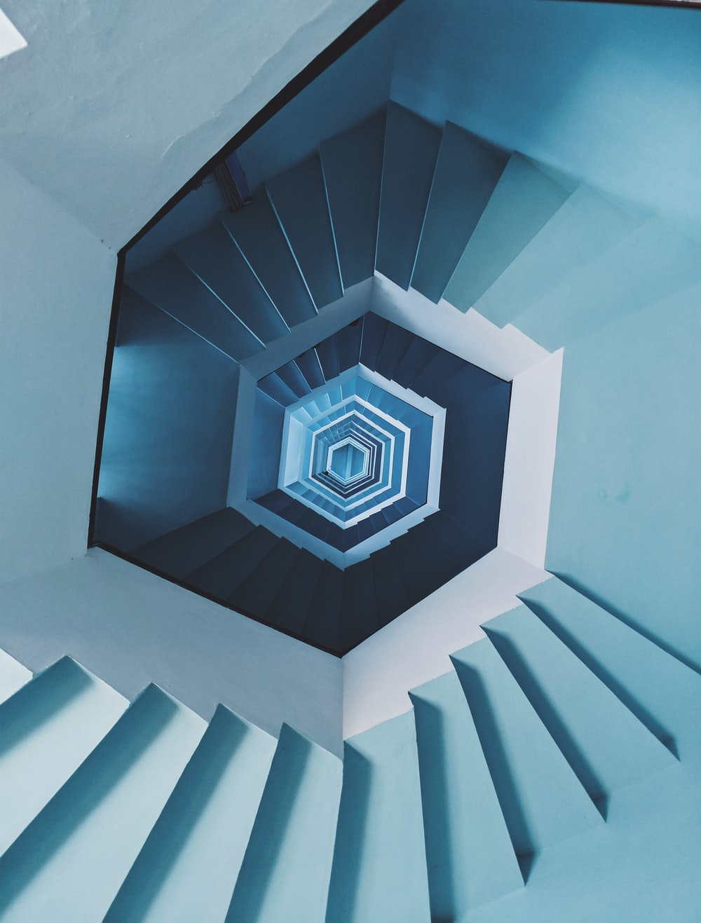 blue spiral staircase