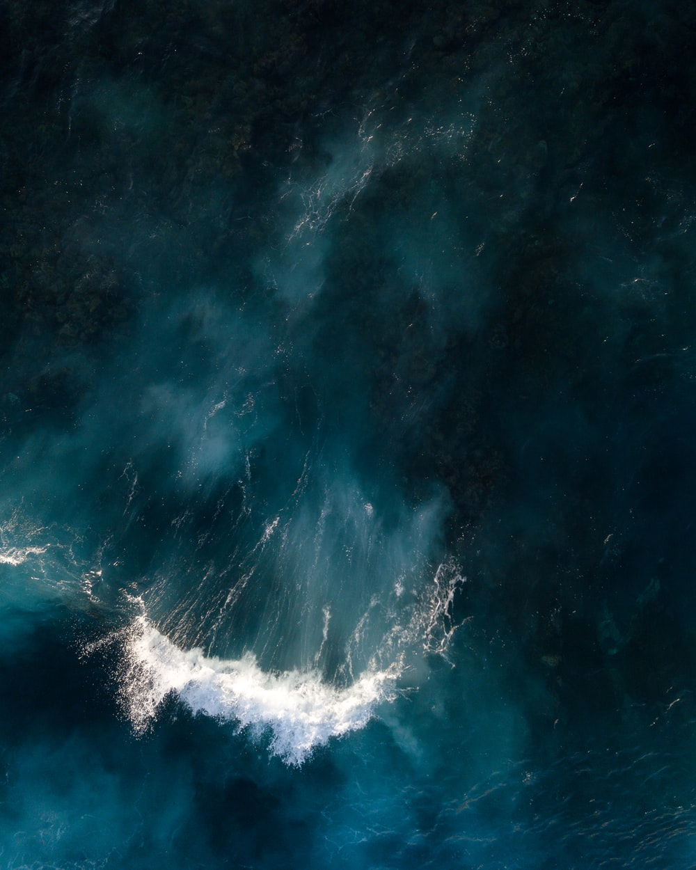 aerial photography of blue sea