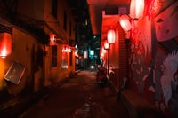 The Japanese restaurant decorated the whole street with some manga look alike paintings and lots of red lanterns.