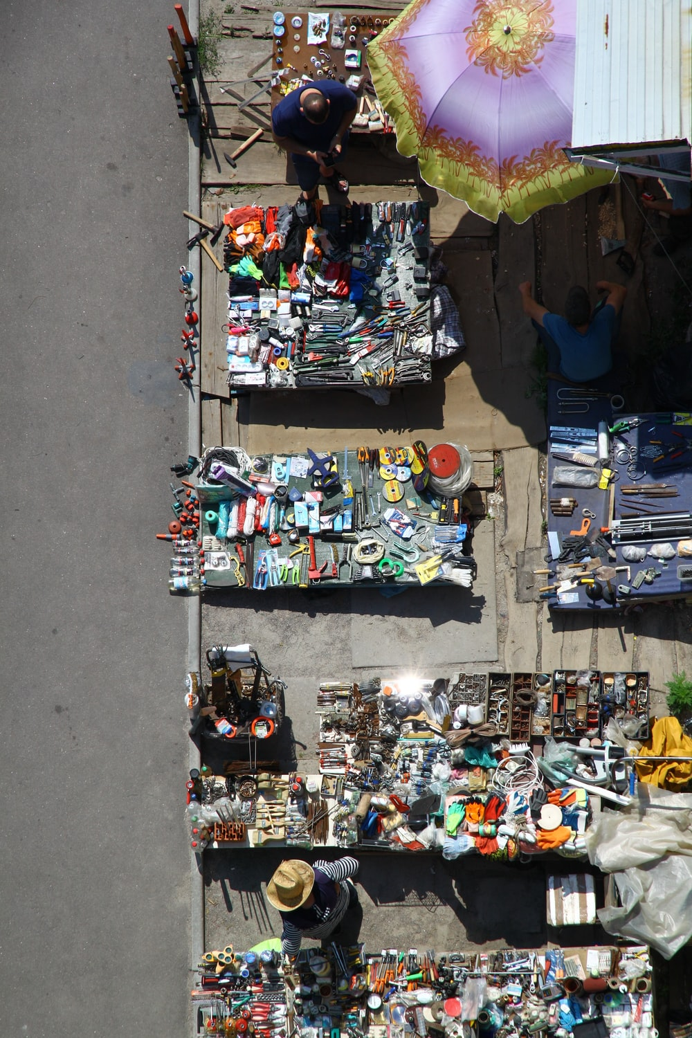 high-angle photography of street vendor