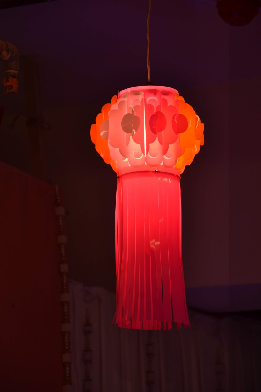 orange and red pendant lamp