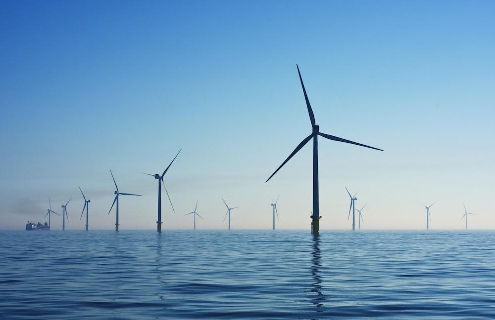 white electic windmill