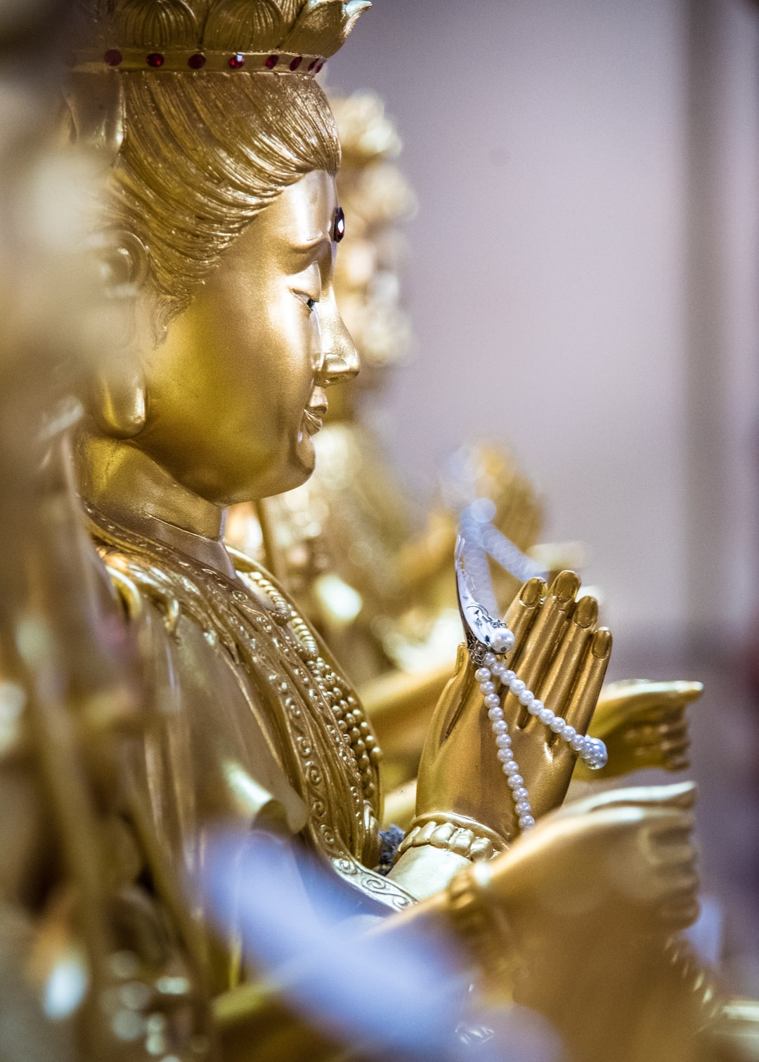 Golden statue of Chinese gold in Chinese temple