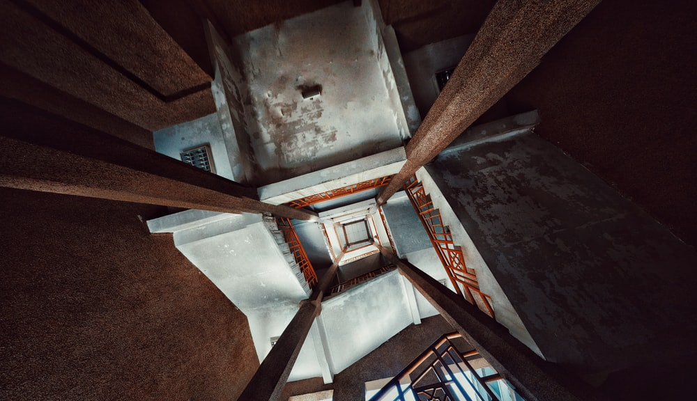 white and red concrete building interior