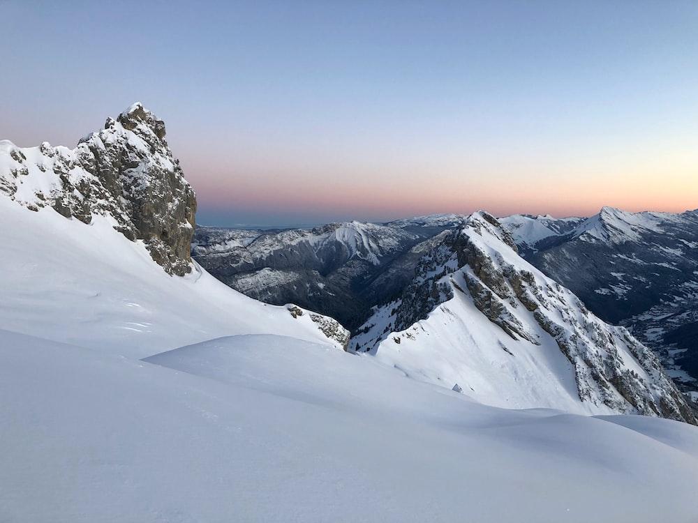 snowfield mountain under golden hour