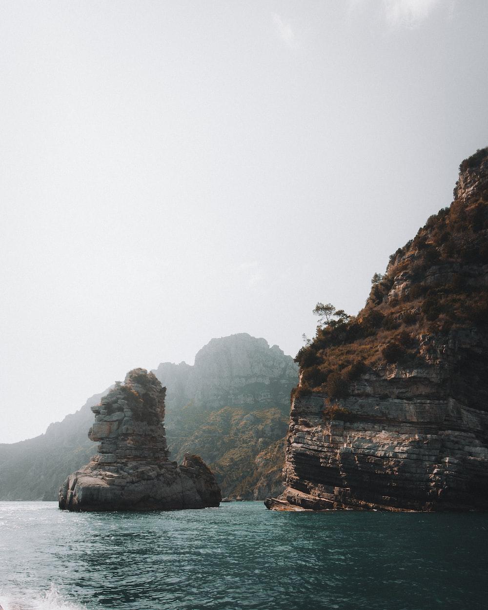 island under gray sky