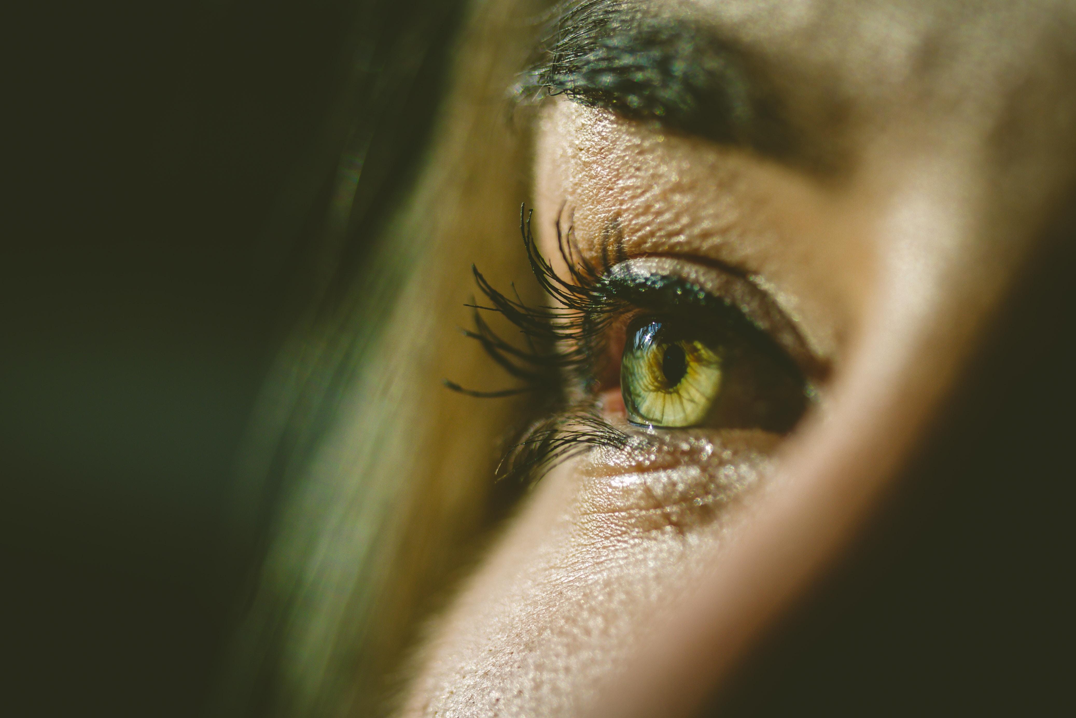 selective-focus photograph of person's eye