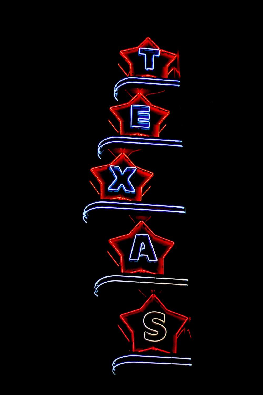 Texas neon signage