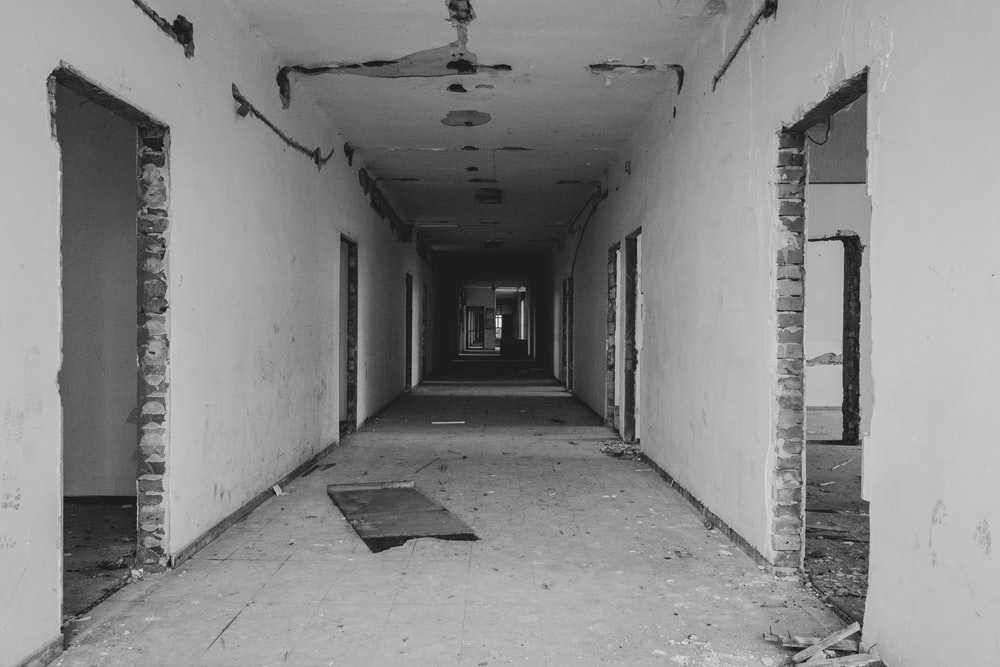 grayscale photo of building interior