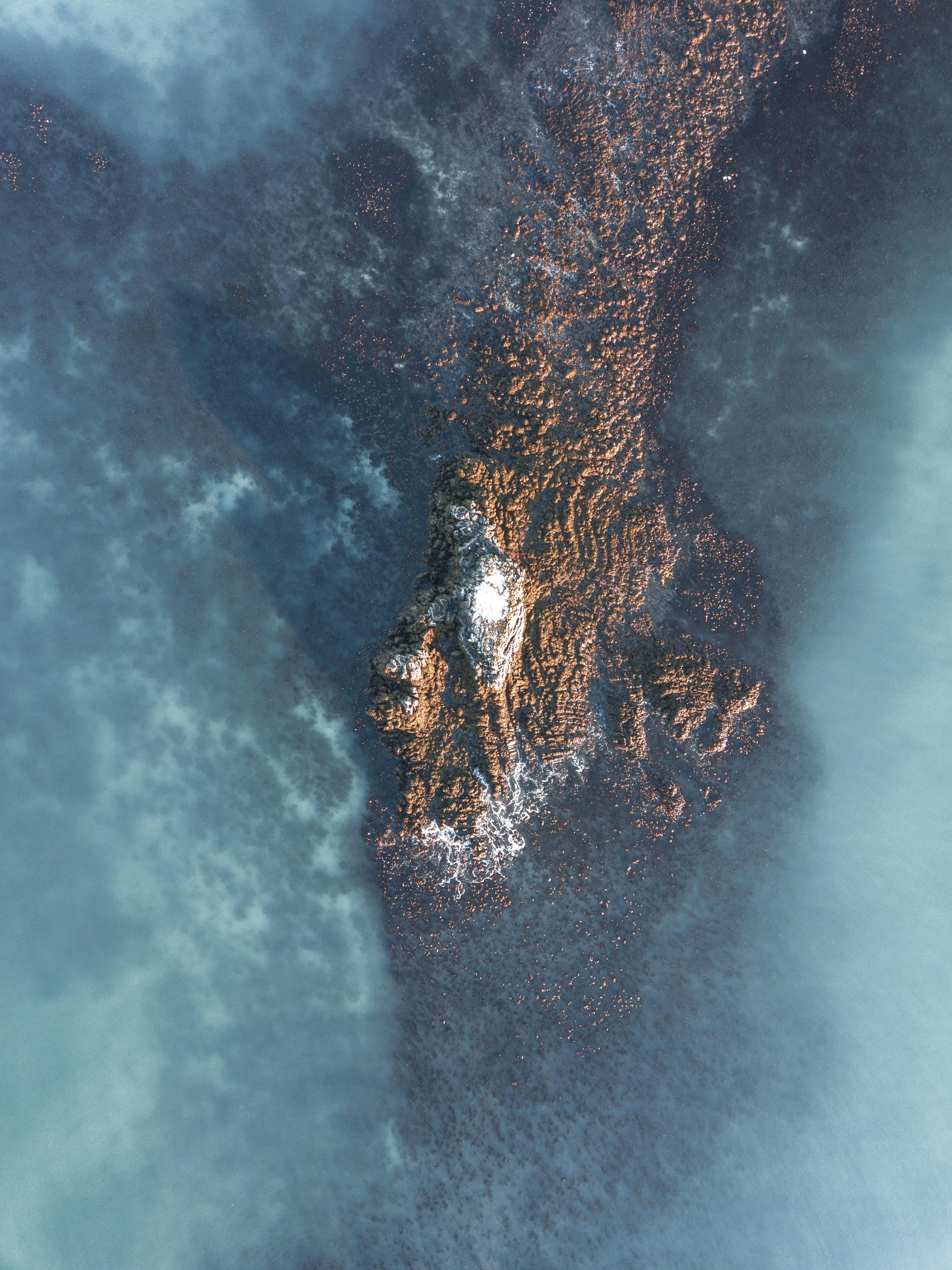 aerial photo of islet