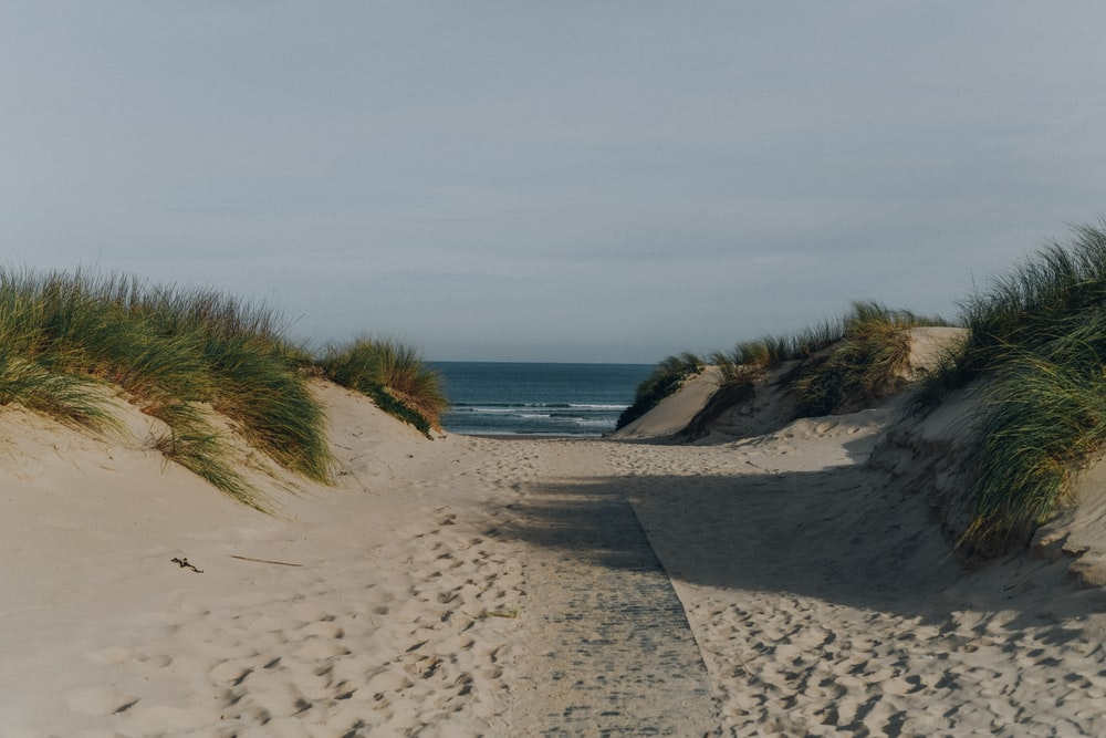 sandy path leading to the sea at the beach under grey sky
