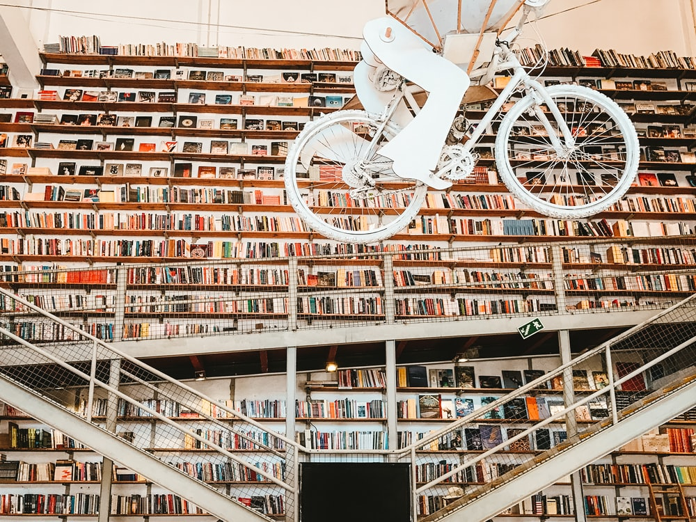 library with bicycle hanging inside