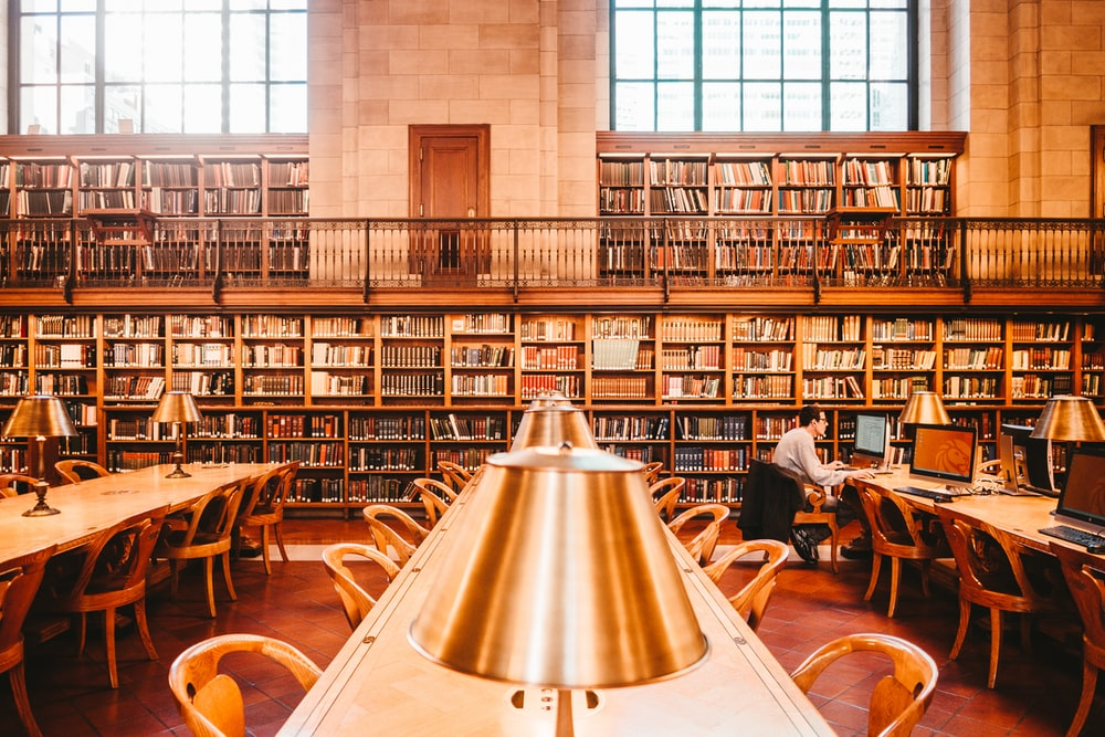man sitting on chair inside library
