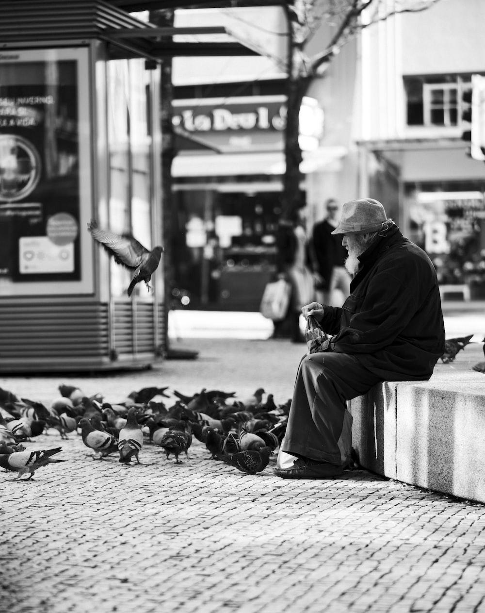 man sitting and feeding birds