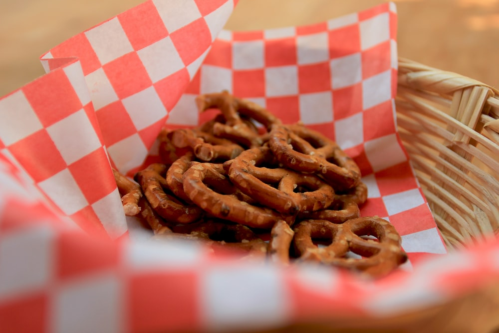 pretzels in basket