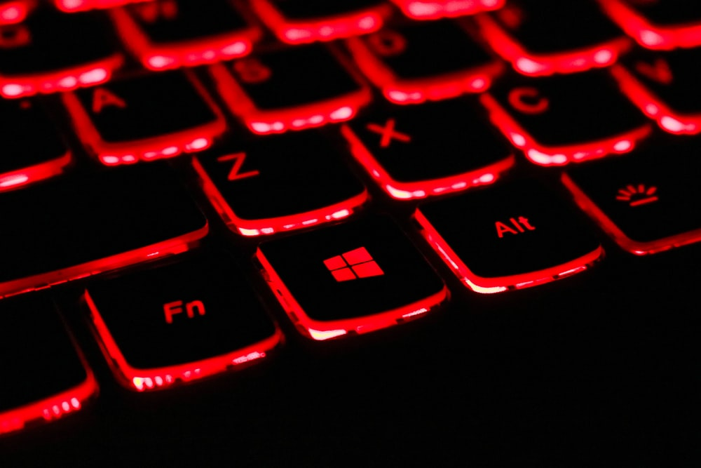 black and red laptop keyboard