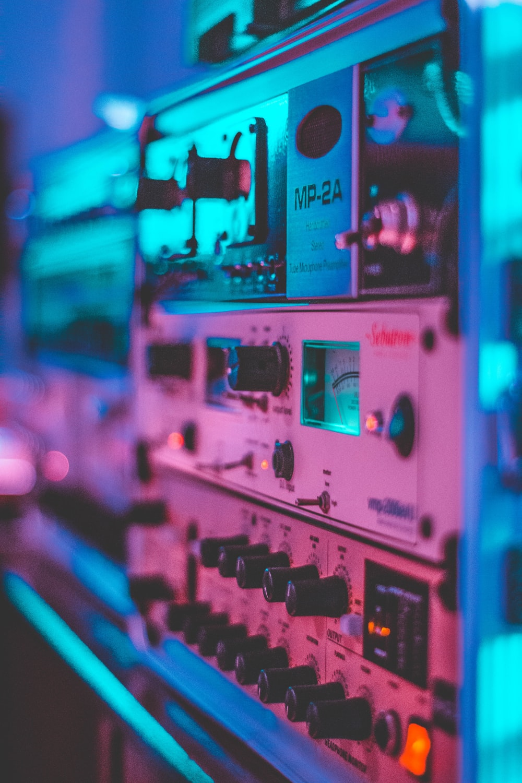 shallow focus photo of gray AV receiver
