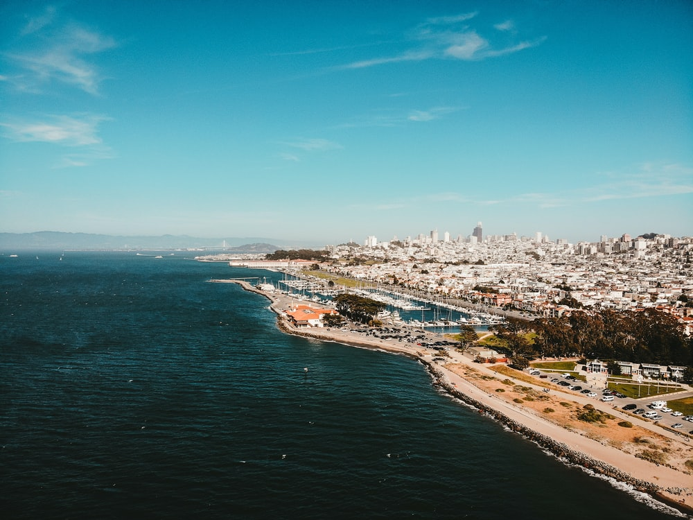 aerial view photography of city skyline beside ocean