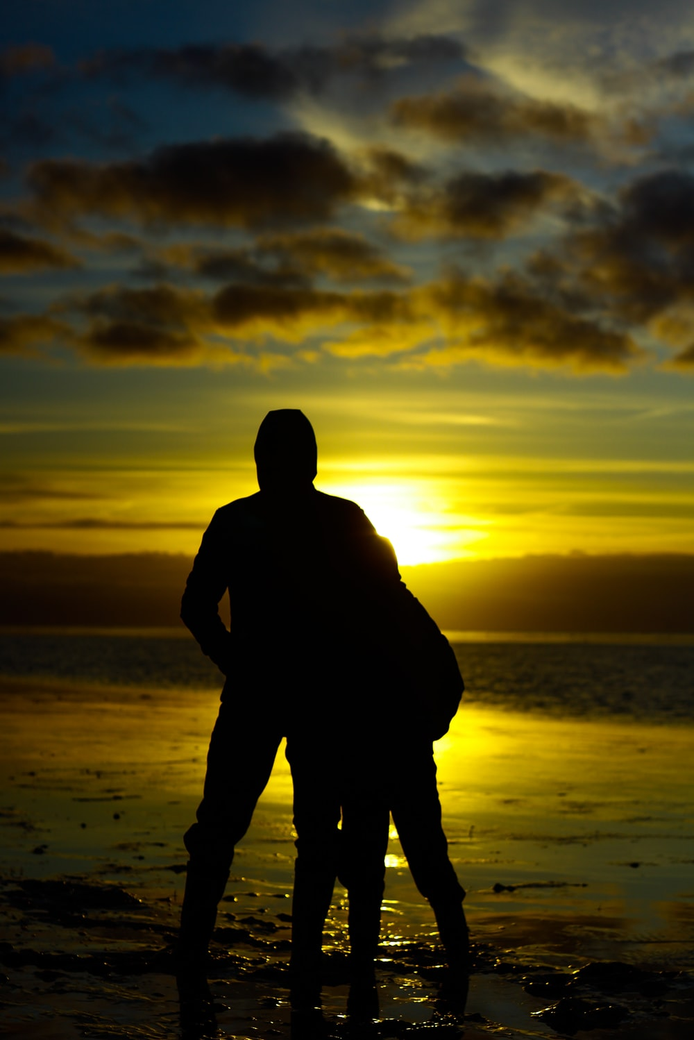 silhouette photo of two persons standing beside beach