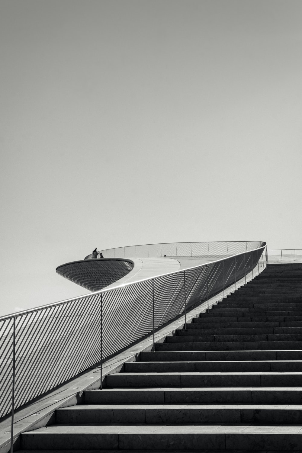 grayscale photography of concrete stairs