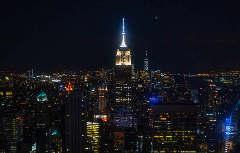 lighted Empire State building during night