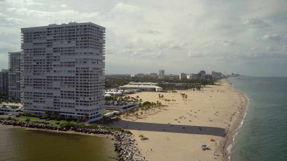 white hotel in front ocean