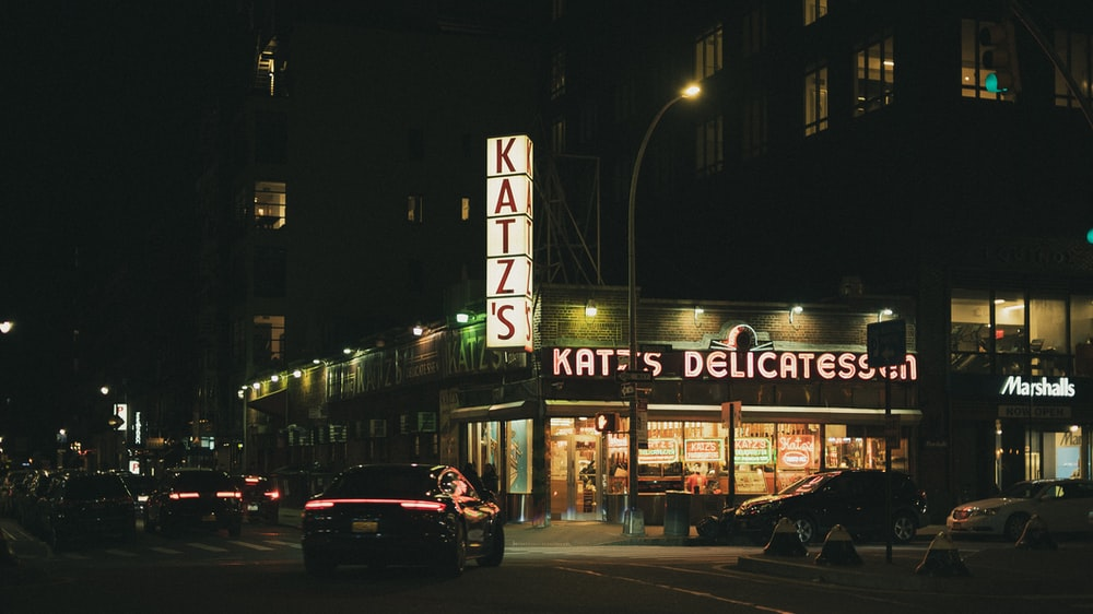Katzs store at nighttime