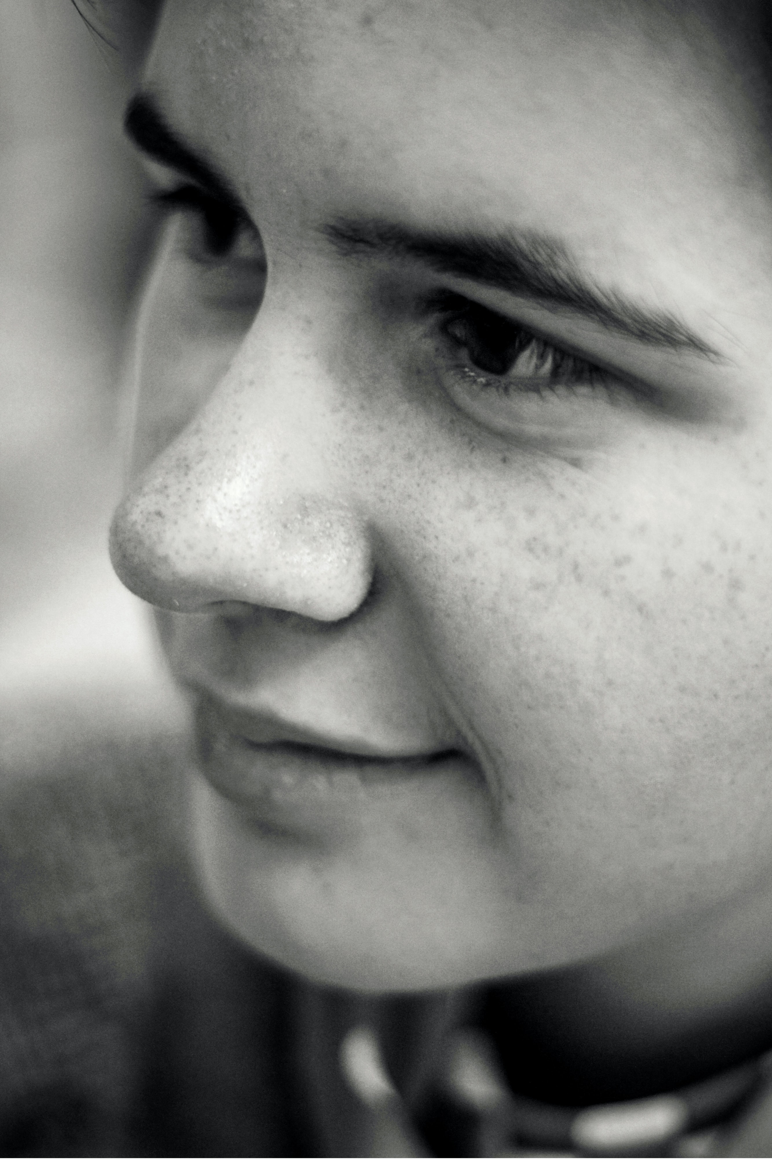 grayscale photography of woman face