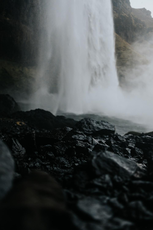 wet stones near waterfalls