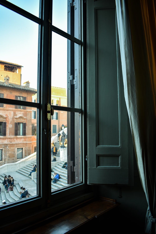 closed black framed window