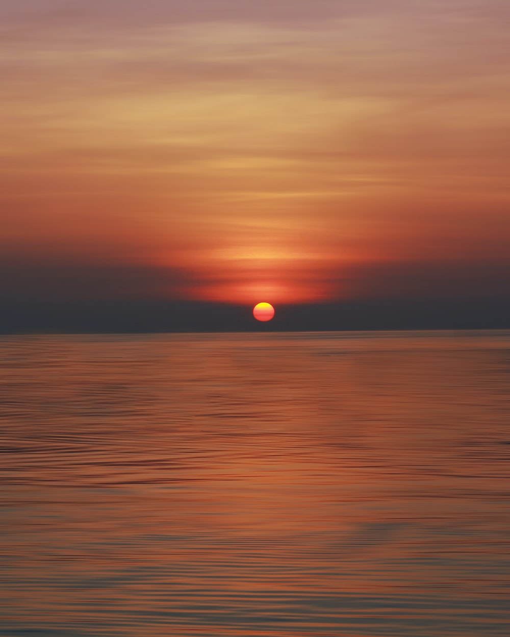 calm sea during sunset