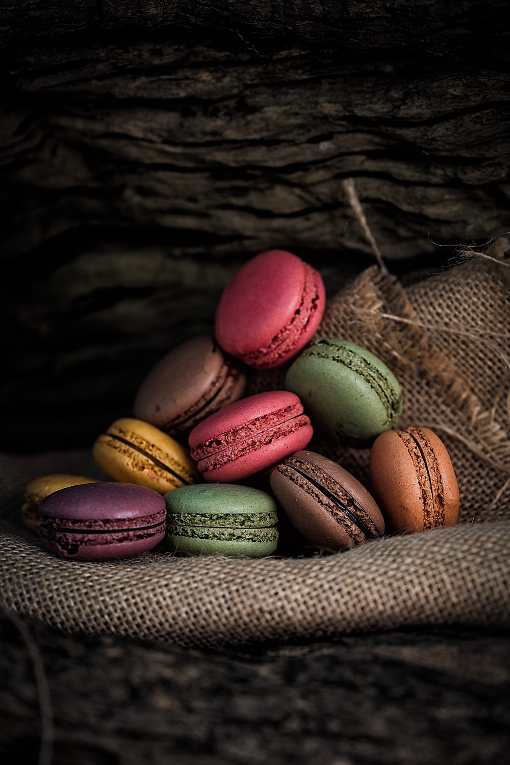 French macaroons on gray textile