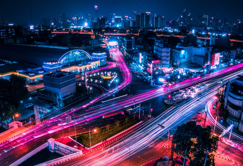 timelapse photo of lighted city streets