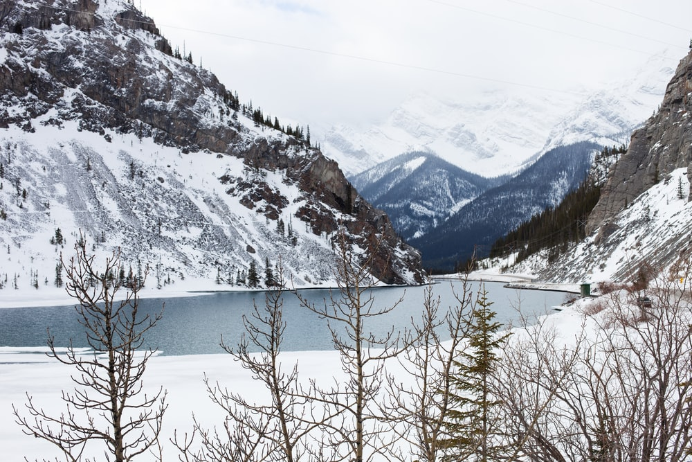 body of water surrounded by snow covered mountain