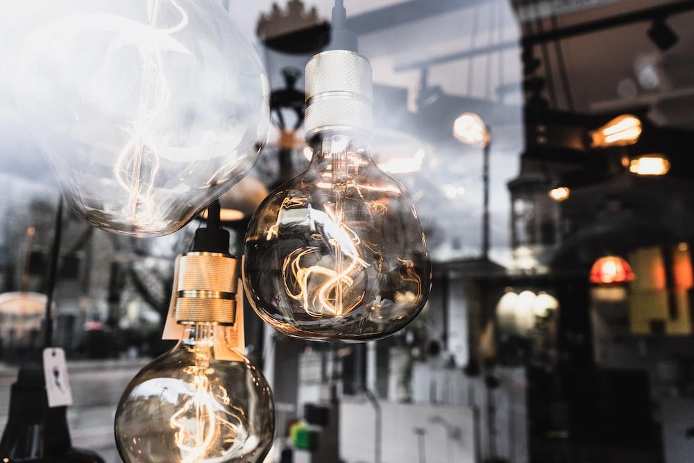 selective focus photography of turned-on Edison bulbs