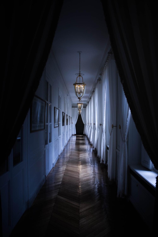 brown parquet hallway