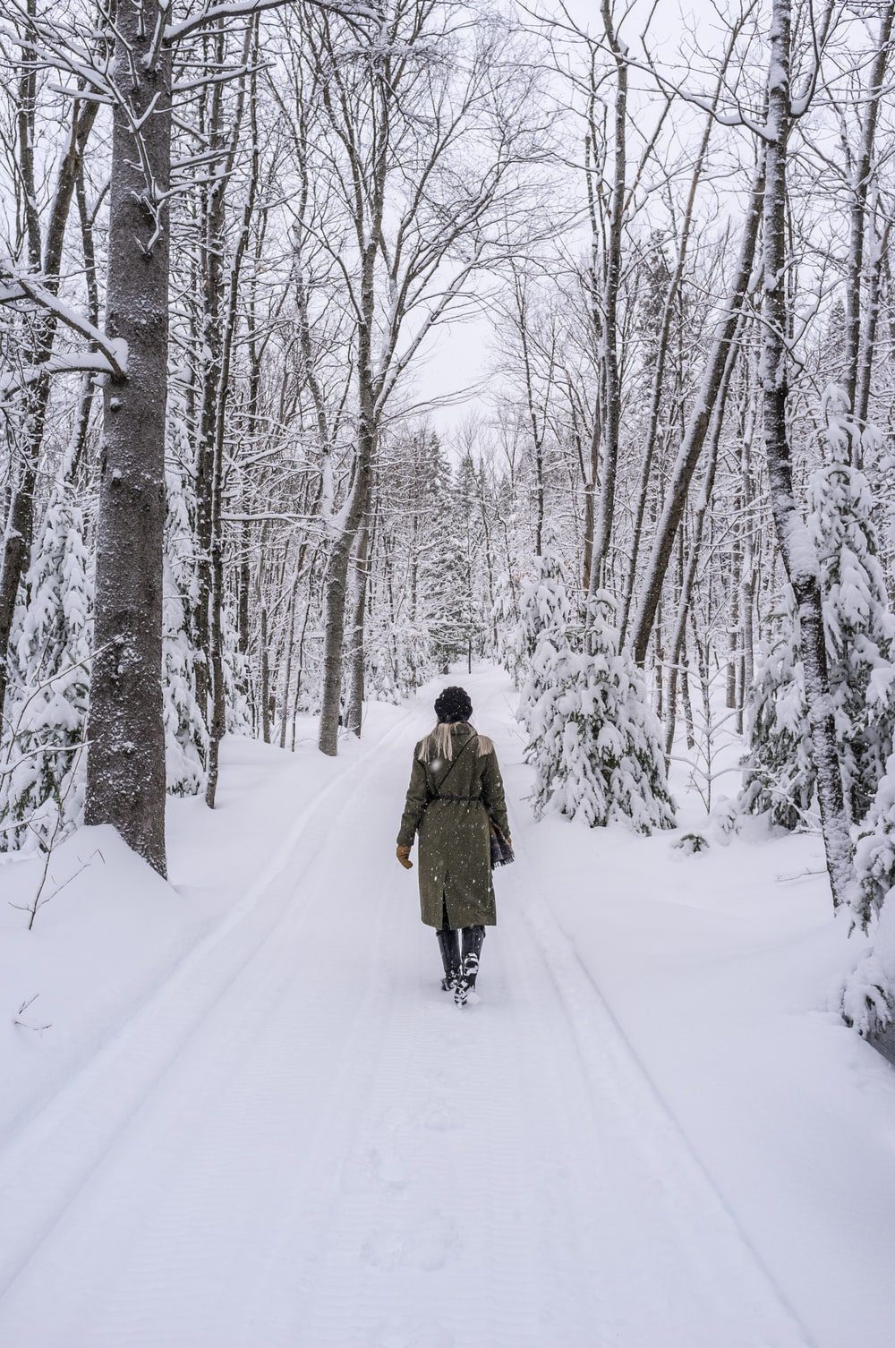 person walking on snow covered road surrounded by bare trees