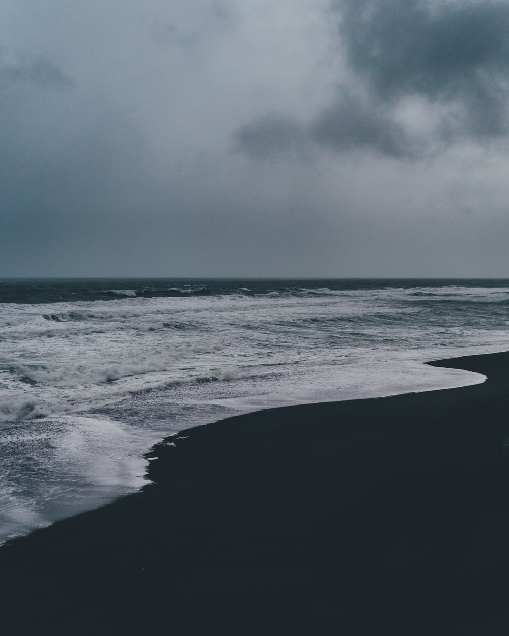 seashore with black sand under gray clouds