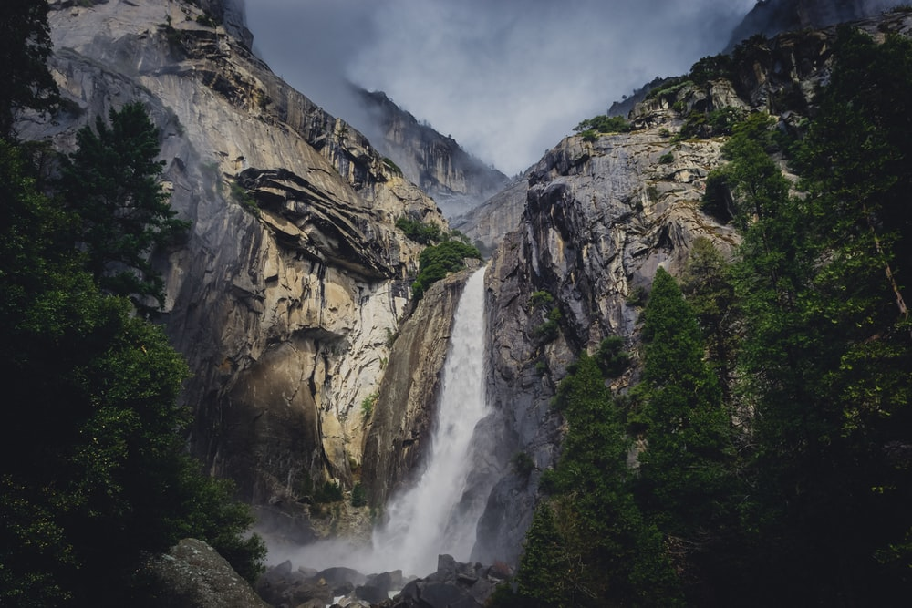 low angle photo of waterfalls