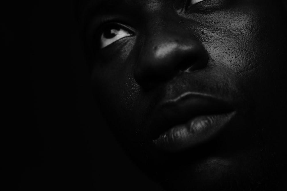 close-up photography of human face