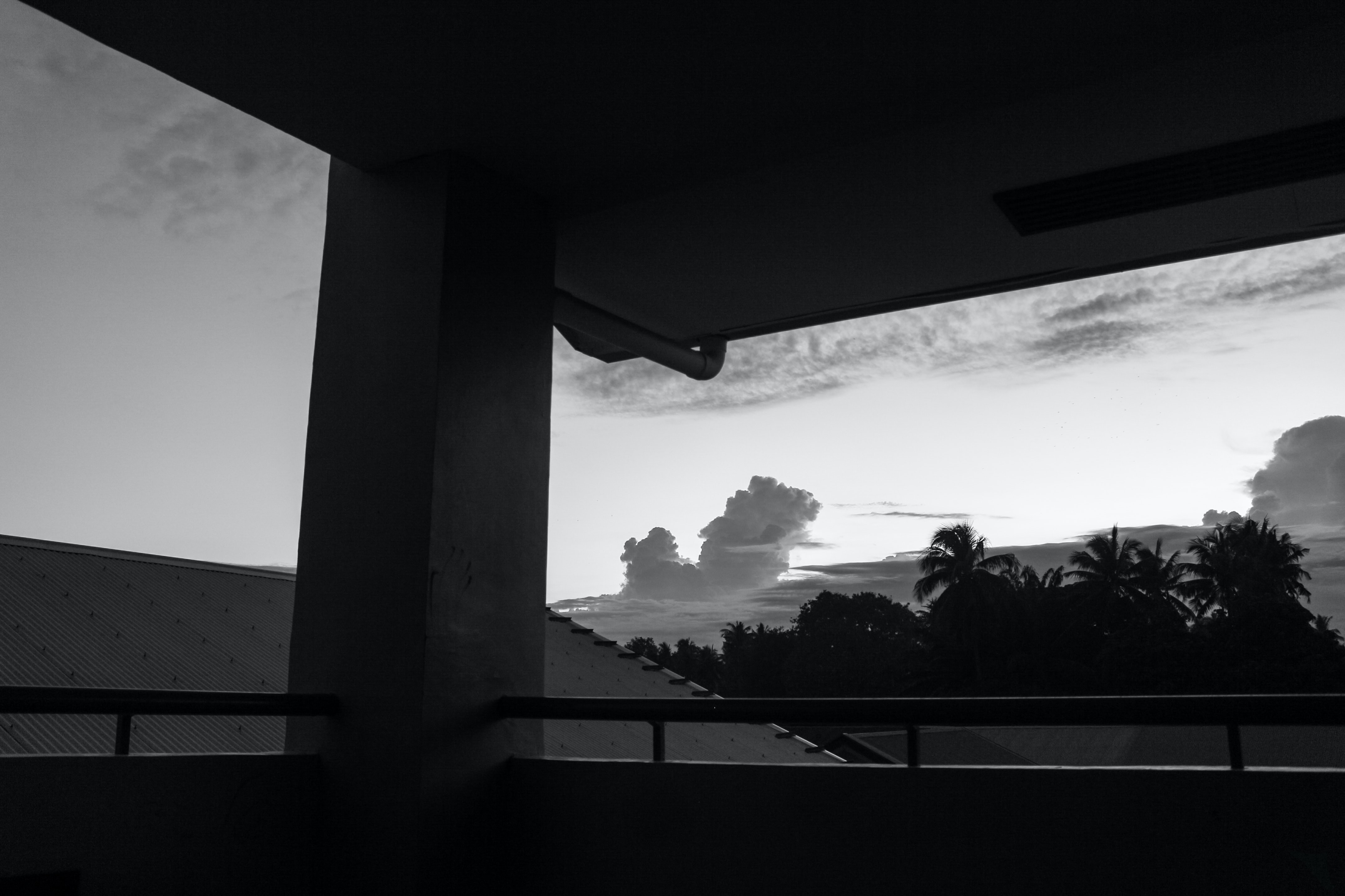 grayscale photography of sky